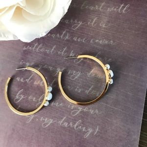 Jewelry - Marble  and gold C hoop earrings